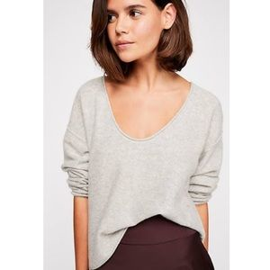 Free People Forever Cashmere V Neck Sweater Gray